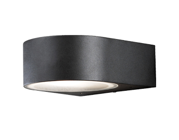 Konstsmide Teramo 1 Light Outdoor Up & Down Wall Light, Matt Black Finish With Frosted Glass Diffusers - 7510-750