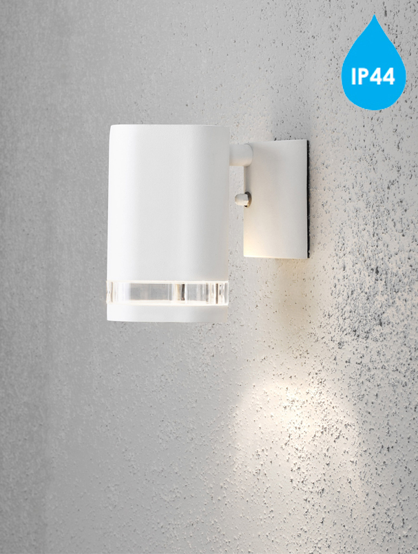 Konstsmide Modena Ip44 1 Light Outdoor Wall Light White Finish With Clear Plastic Diffuser