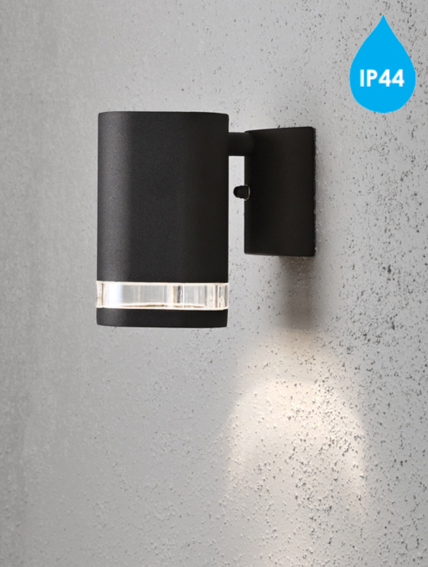 Konstsmide Modena IP44 1 Light Outdoor Wall Light, Black Finish With Clear Plastic Diffuser ...