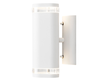 Konstsmide Modena 2 Light Outdoor Up & Down Wall Light, White Finish With Clear Plastic Diffuser - 7512-250