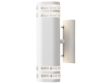 Konstsmide Modena 2 Light Outdoor Up & Down Wall Light, White Finish With Clear Plastic Diffuser - 7516-250