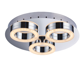 Endon Geo 3 Light Flush Bathroom Ceiling Light, Chrome Plate & Frosted PC Finish - 75176