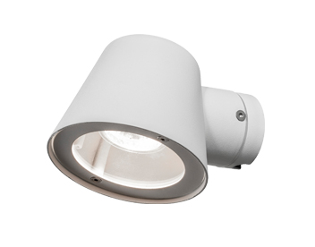 Konstsmide Trieste 1 Light Outdoor Wall Light, White Finish With Clear Glass Diffuser - 7523-250