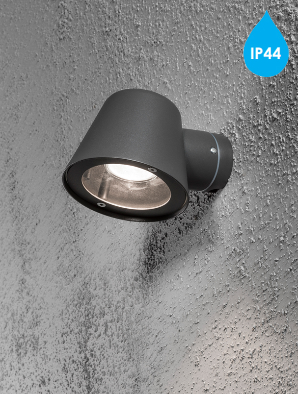 Konstsmide Trieste IP44 1 Light Outdoor Wall Light, Anthracite Grey Finish With Clear Glass ...