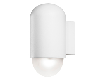 Konstsmide Sassari LED 1 Light Outdoor Wall Light, White Finish With Opal Glass Diffuser - 7525-250