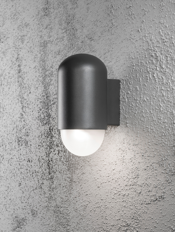Konstsmide Sassari IP44 LED 1 Light Outdoor Wall Light, Anthracite Grey Finish With Opal Glass ...