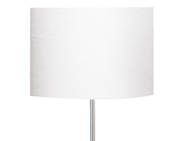 Searchlight 1 Light Floor Lamp, Chrome Finish With White Fabric Shade - 7550CC