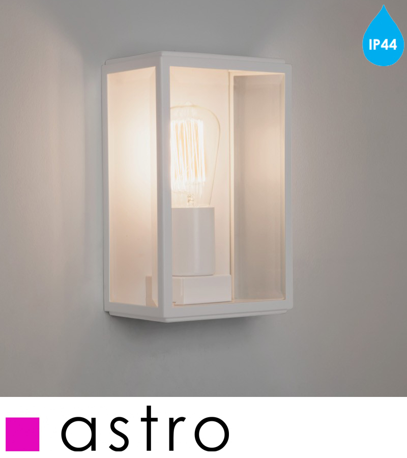 Painted Glass Wall Lights : Astro Homefield IP44 Outdoor Flush Wall Light, Painted White & Clear Glass - 7587 from Easy ...