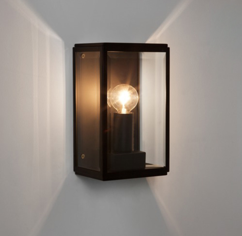 Simple Black Wall Lights : Astro Homefield 130 IP44 Outdoor Flush Wall Light, Black Finish & Clear Glass - 7590 from Easy ...