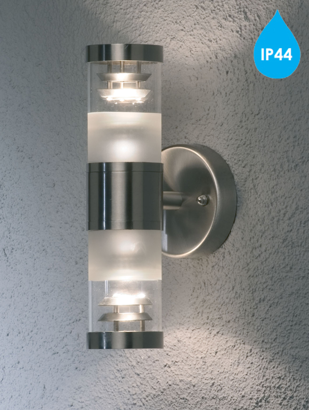 Konstsmide Bolzano Ip44 2 Light Outdoor Up Amp Down Wall Light Stainless Steel With Clear