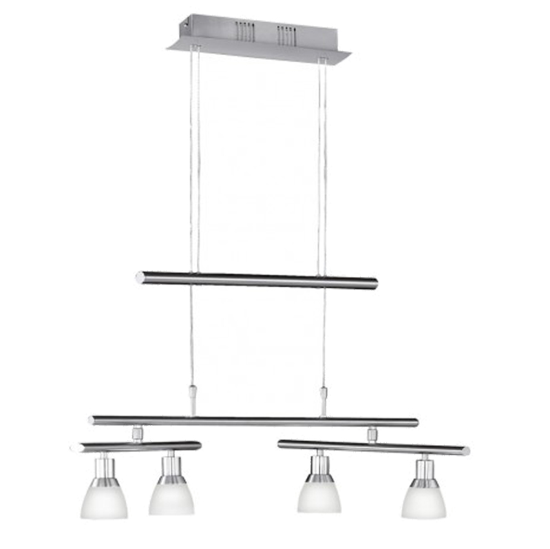 Wofi Talas 4 Light LED Rise & Fall Ceiling Pendant Light, Matt Nickel - 7596.04.64.0000