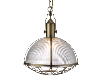 Searchlight Industrial 1 Light Ceiling Pendant, Antique Brass Finish With Ribbed Glass Shade - 7601AB