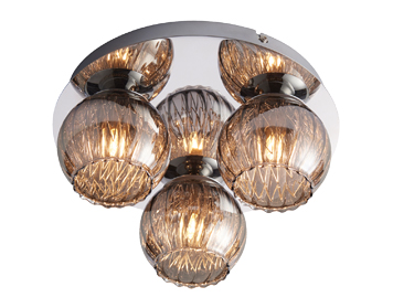 Endon Aerith 3 Light Flush Ceiling Light, Chrome Plate & Smoked Mirror Glass Finish - 76122
