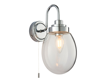 Endon Hampton 1 Light Bathroom Wall Light, Clear Glass & Chrome Plate Finish - 76304