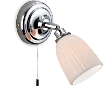 Firstlight Metro 1 Light Switched Wall Light, Chrome With Porcelain Shades - 7630CH