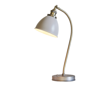 Endon Franklin Task Table Lamp, Satin Taupe & Antique Brass Finish - 76331