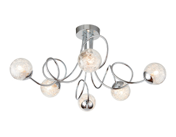 Endon Auria 6 Light Semi Flush Ceiling Light, Chrome Plate With Clear Glass Finish - 76349