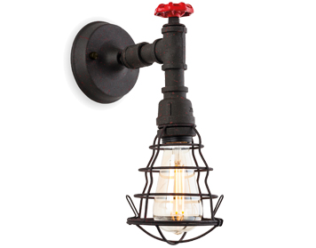 Firstlight Factory 1 Light Wall Light, Rustic Black - 7635RBK