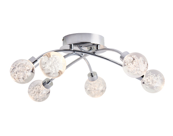 Endon Versa 6 Light Semi Flush Bathroom Ceiling Light, Chrome Plate & Clear Bubble Acrylic Finish - 76362