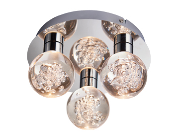 Endon Versa 3 Light Flush Bathroom Ceiling Light, Chrome Plate & Clear Bubble Acrylic Finish - 76364