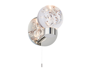 Endon Versa 1 Light Bathroom Wall Light, Chrome Plate & Clear Bubble Acrylic Finish - 76366