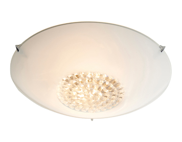Endon Nya 2 Light Flush Ceiling Light, Clear & White Painted Finish With Clear Faceted Glass - 76388