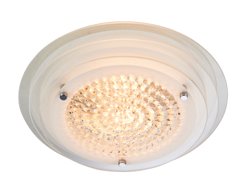 Endon Ava 2 Light Flush Ceiling Light, Clear & White Painted Finish With Clear Faceted Glass - 76390
