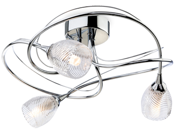 Firstlight Henley 3 Light Semi Flush Ceiling Light, Chrome With Clear Decorative Glass - 7642CH