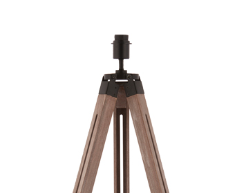 Endon Bennett Floor Light, Matt Black & Poplar Wood Finish, Base Only - 76446