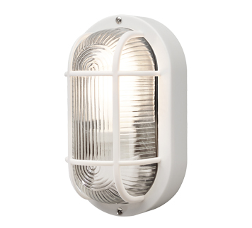 Konstsmide Elmas 1 Light Outdoor Wall Light, White Finish With Clear Glass Diffuser - 7650-200