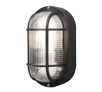 Konstsmide Elmas 1 Light Outdoor Wall Light, Black Finish With Clear Glass Diffuser - 7650-750
