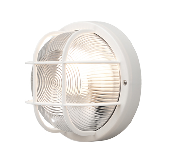 Konstsmide Mantova 1 Light Outdoor Wall Light, White Finish With Clear Glass Diffuser - 7651-200