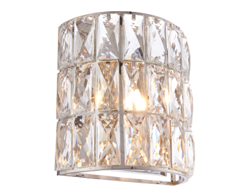 Endon Verina 1 Light Wall Light, Chrome Plate & Clear Crystal Glass Finish - 76515
