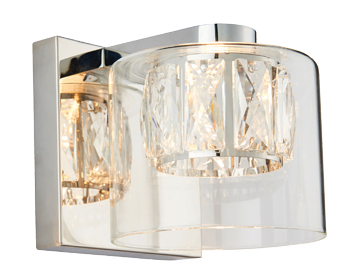 Endon Verina 1 Light Wall Light, Chrome Plate & Clear Crystal Glass Finish - 76521