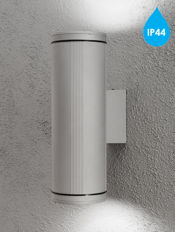 Grey Glass Wall Lights : Konstsmide Belluno IP44 (510mm) 2 Light Outdoor Up & Down Wall Light, Grey Finish With ...