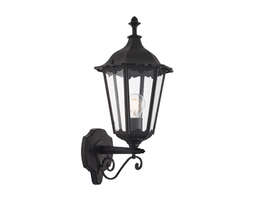 Endon Burford 1 Light Outdoor Wall Light, Matt Black & Clear Glass Finish - 76546