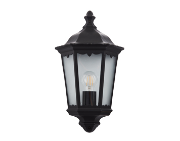 Endon Burford 1 Light Flush Outdoor Wall Light, Matt Black & Clear Glass Finish - 76547