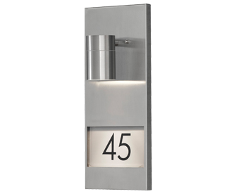 Konstsmide Modena 1 Light Outdoor Wall Light With House Number, Stainless Steel - 7655-000