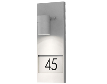 Konstsmide Modena 1 Light Outdoor Wall Light With House Number, Stainless Steel - 7655-300