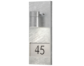 Konstsmide Modena 1 Light Outdoor Wall Light With House Number, Galvanised Steel - 7655-320