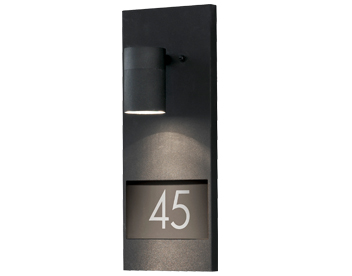 Konstsmide Modena 1 Light Outdoor Wall Light With House Number, Matt Black - 7655-750