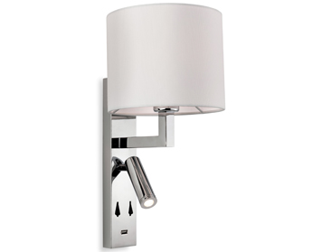 Firstlight Spirit Wall Light With USB Port, Chrome With Cream Shade - 7658CH