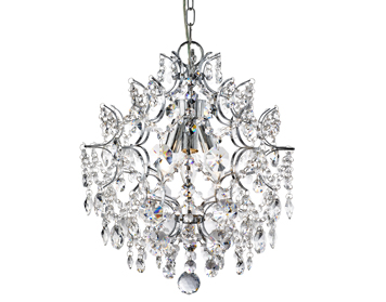 Searchlight Harrietta 3 Light Pendant Ceiling light, Chrome Finish With Hexagonal Crystal Drops & Buttons - 7673-3CC