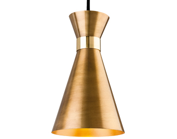 Firstlight Ohio 1 Light Ceiling Pendant Light, Antique Gold With Brass - 7680AG