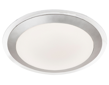 Searchlight Flush Bathroom LED Ceiling Light, Silver Finish With White Acrylic Diffuser - 7684-33SI