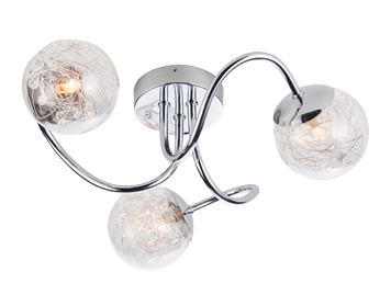 Endon Auria 3 Light Semi Flush Ceiling Light, Chrome Plate With Clear Glass Finish - 76880