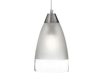 Searchlight 1 Light Pendant Ceiling Light, Satin Silver Finish With A Clear/Sanded Glass Dome Shade - 7702