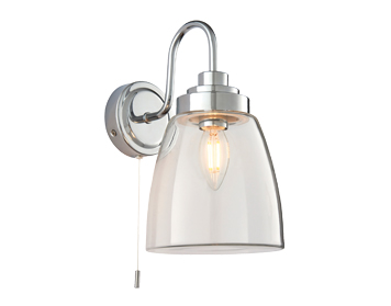 Endon Ashbury 1 Light Wall Light, Clear Glass & Chrome Plate Finish - 77088