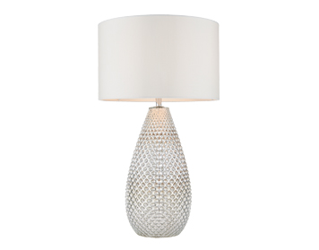 Endon Livia 1 Light Table Lamp, Silver Mercury Glass Finish With Vintage White Faux Silk Finish - 77093