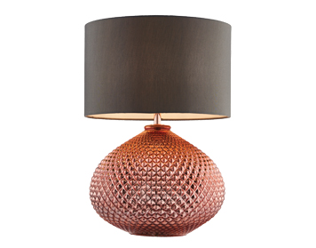Endon Livia 1 Light Table Lamp, Copper Plated Glass Finish With Grey Faux Silk Shade - 77097